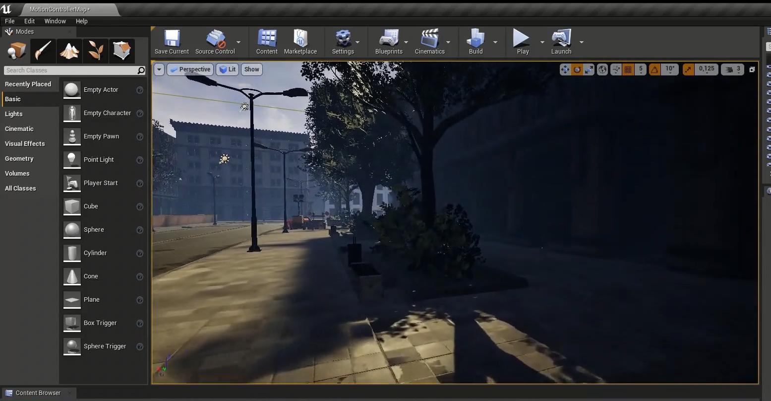 Virtual Reality scenario development in UnReal